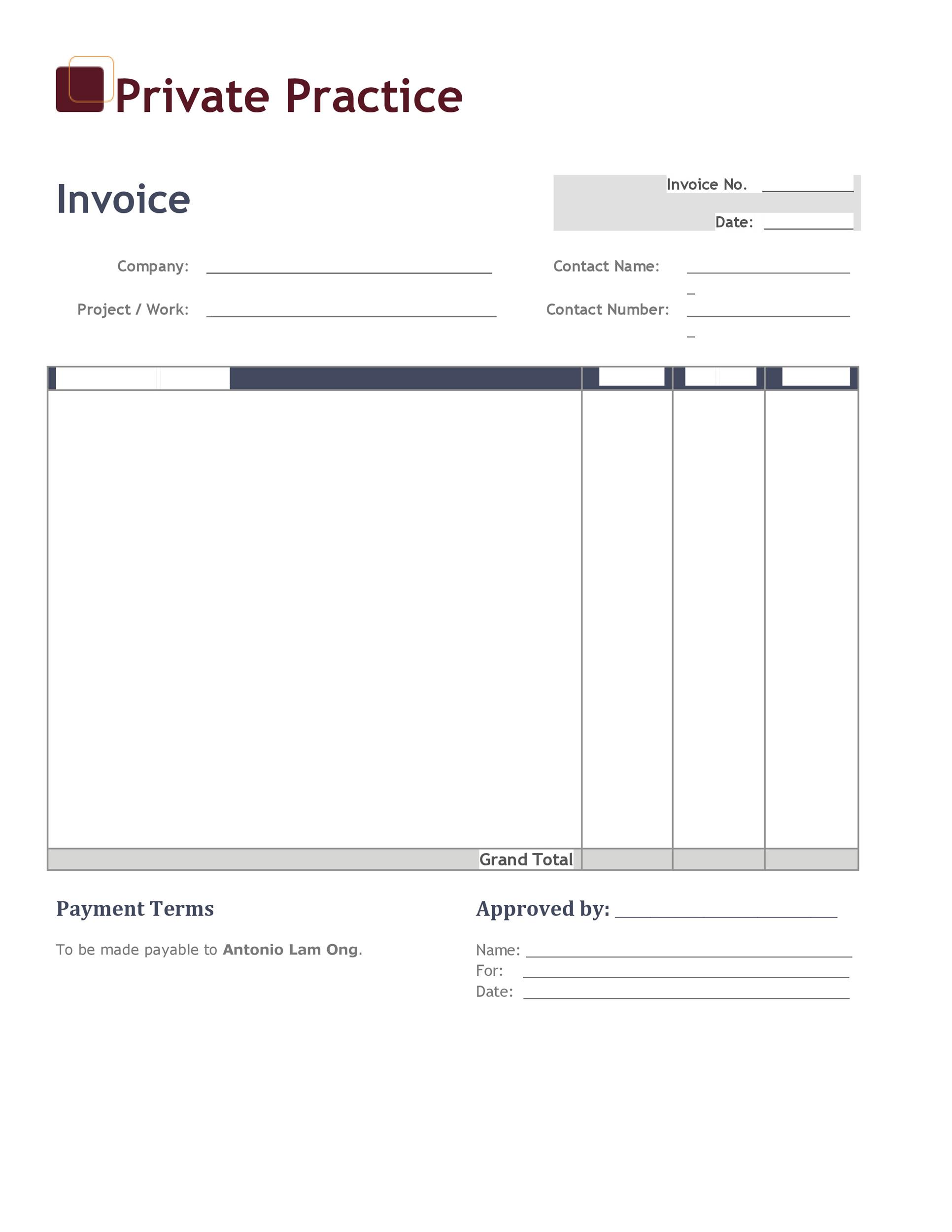 Excel Downloadable Invoice Templates