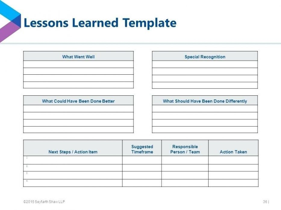 Excel Project Management Lessons Learned Template