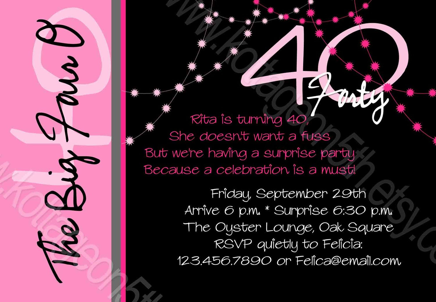 Female Free 40th Birthday Invitations Templates