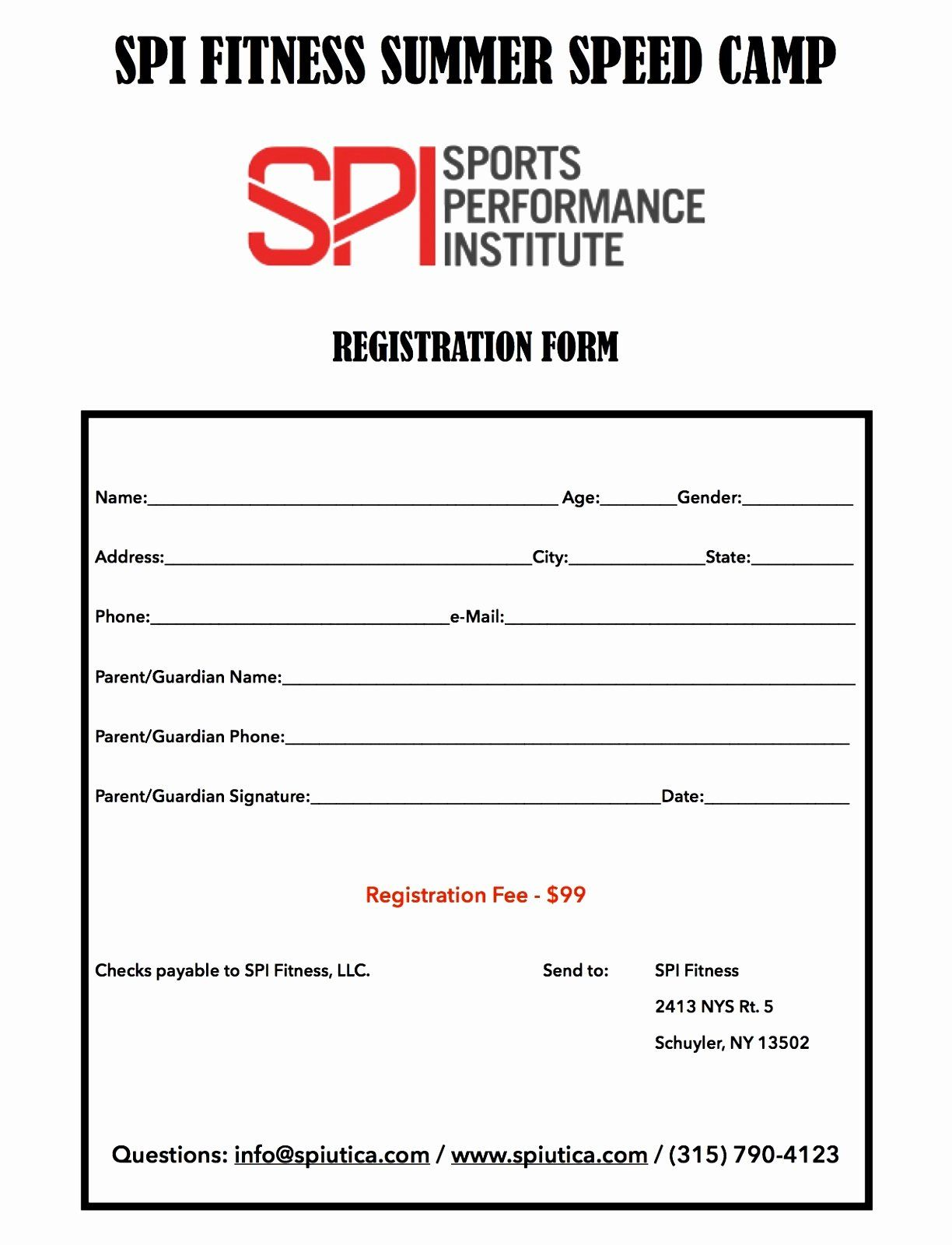 Football Registration Form Template