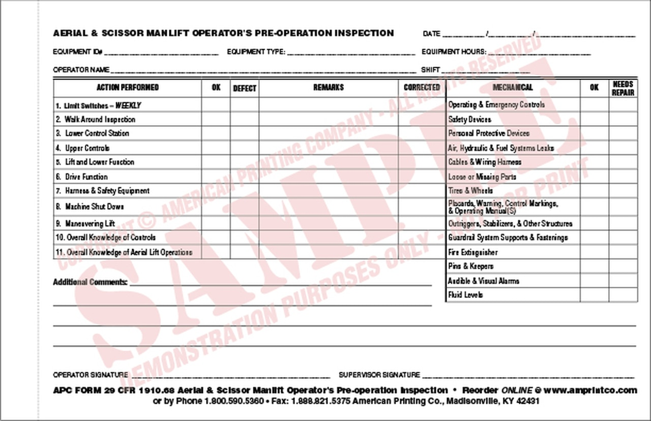 Forklift Daily Inspection Checklist Template