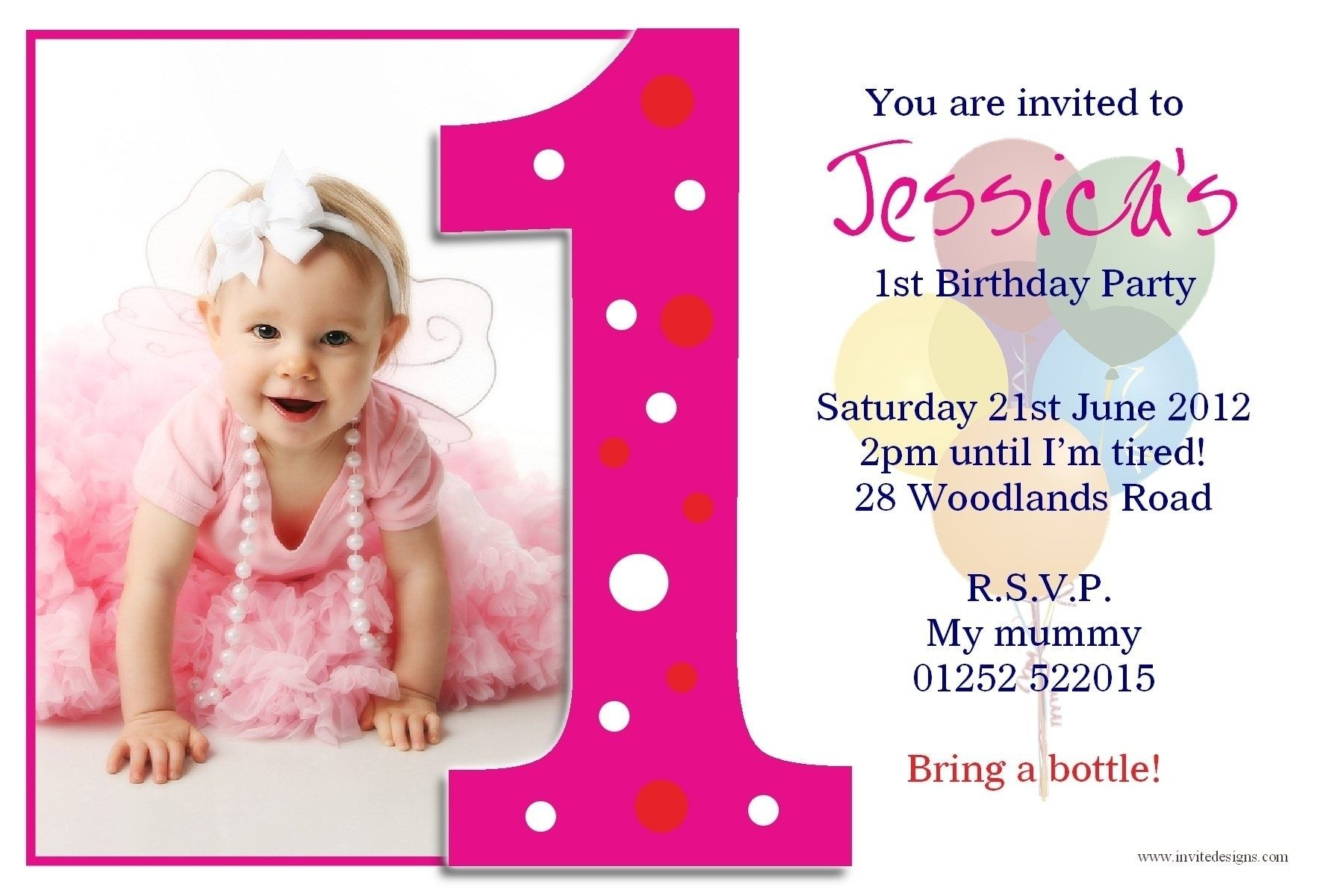 Free 1st Birthday Invitation Templates