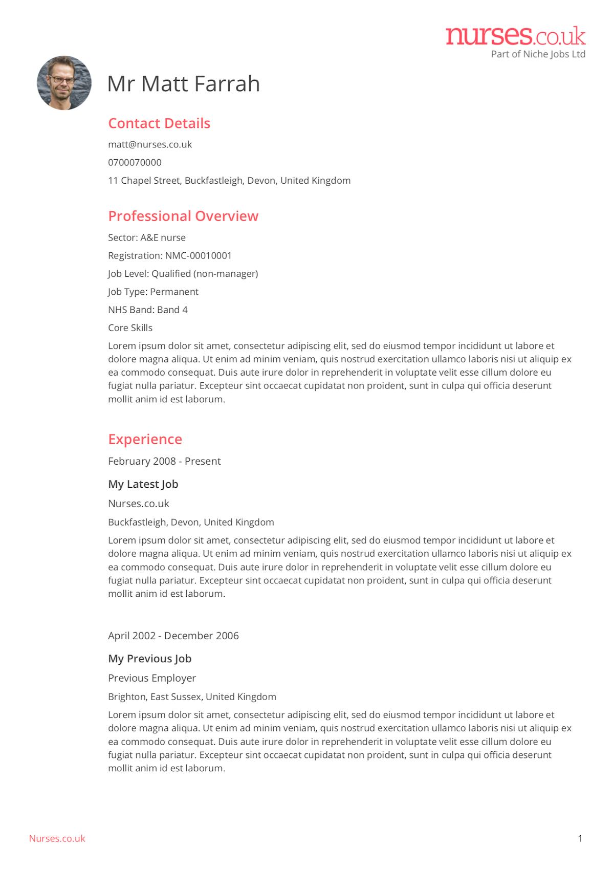 Free Nursing Cv Template Uk