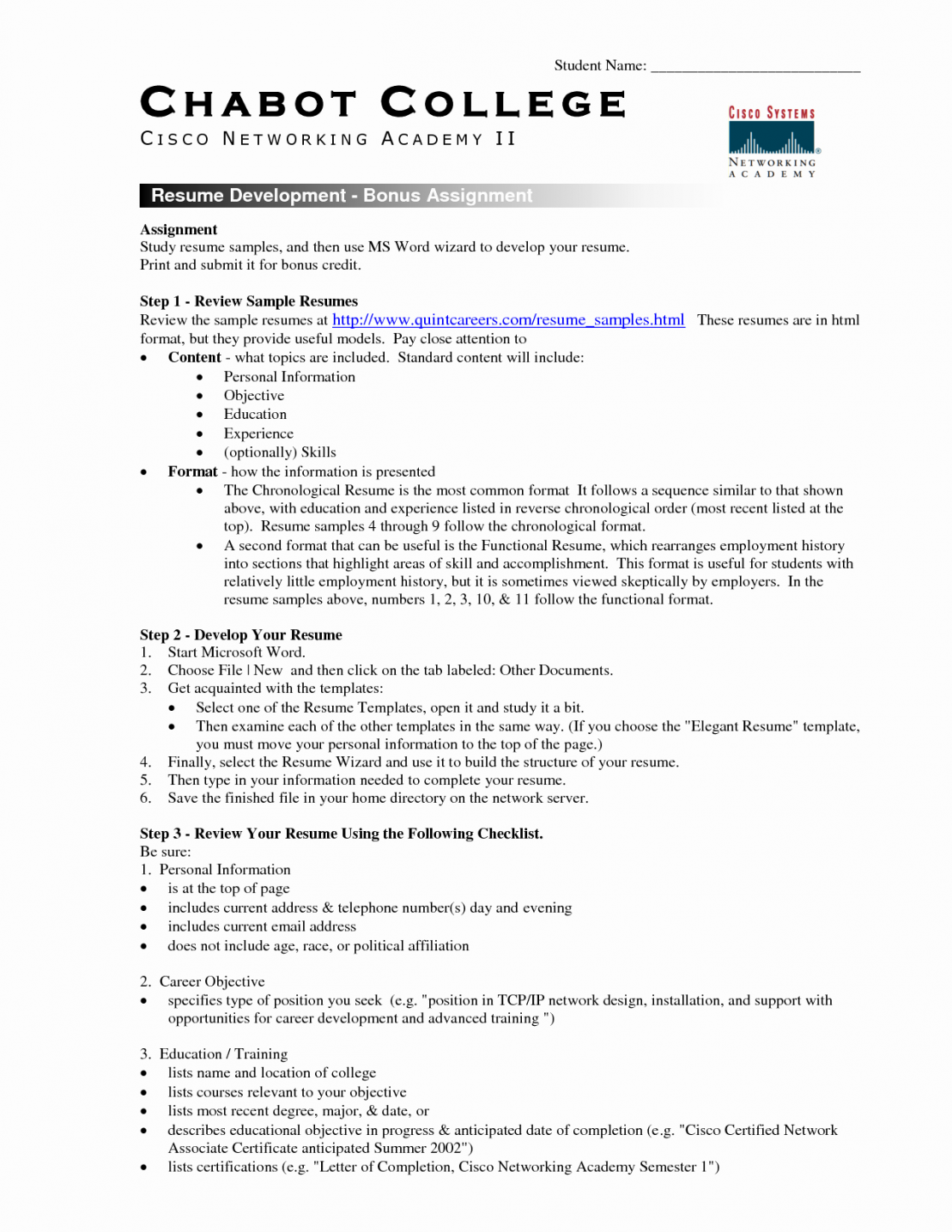 Free Student Resume Template Microsoft Word