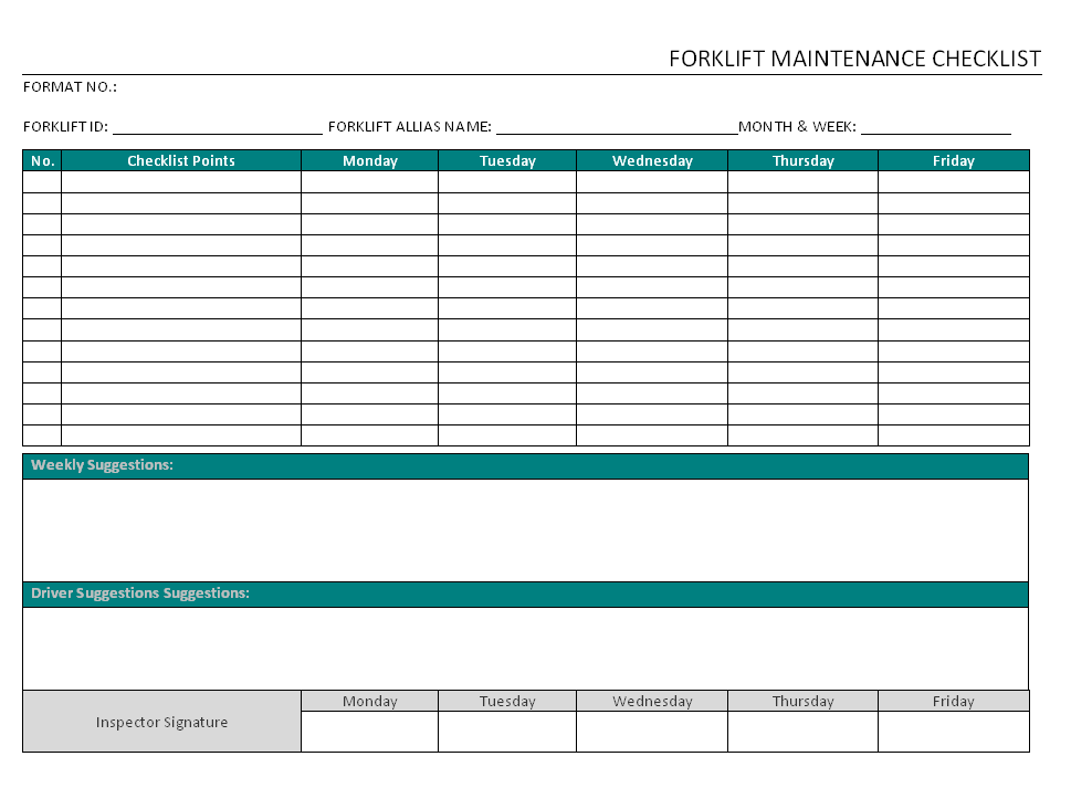 Free Weekly Forklift Inspection Checklist Template