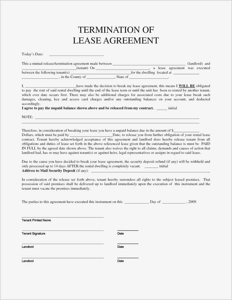 Generic Rental Agreement Pdf Fresh Breaking Lease Agreement Letter Template Collection