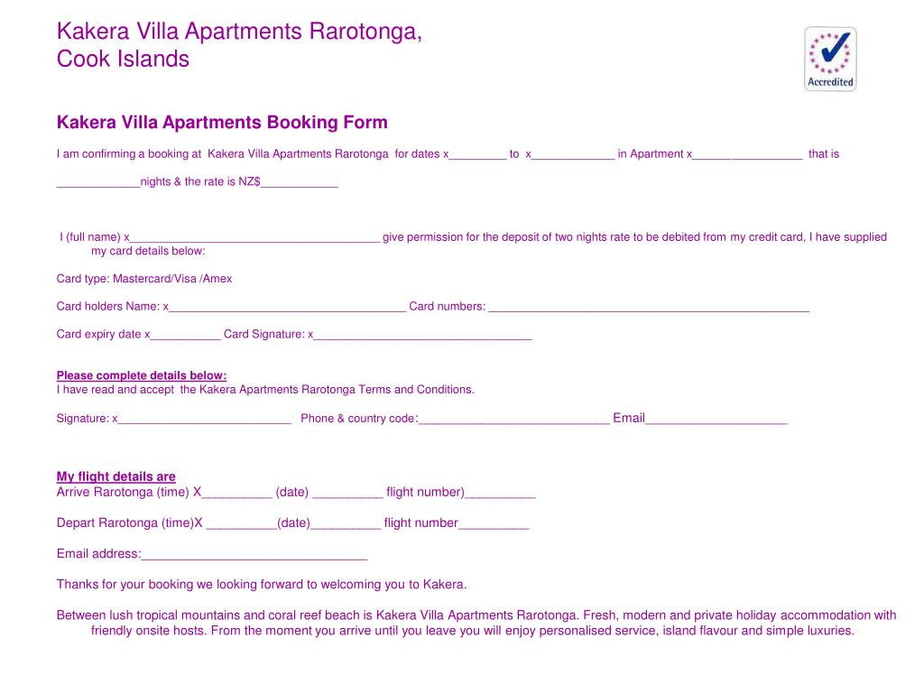 Holiday Booking Form Template Free