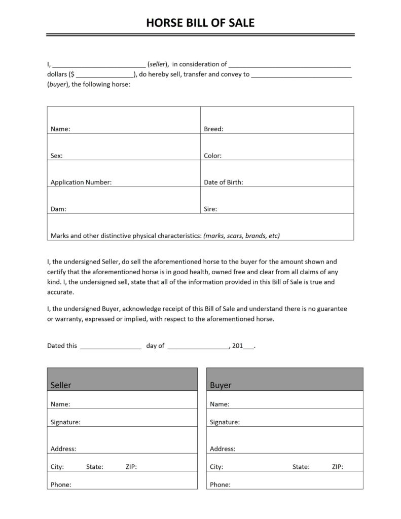 Horse Bill Of Sale Free Template