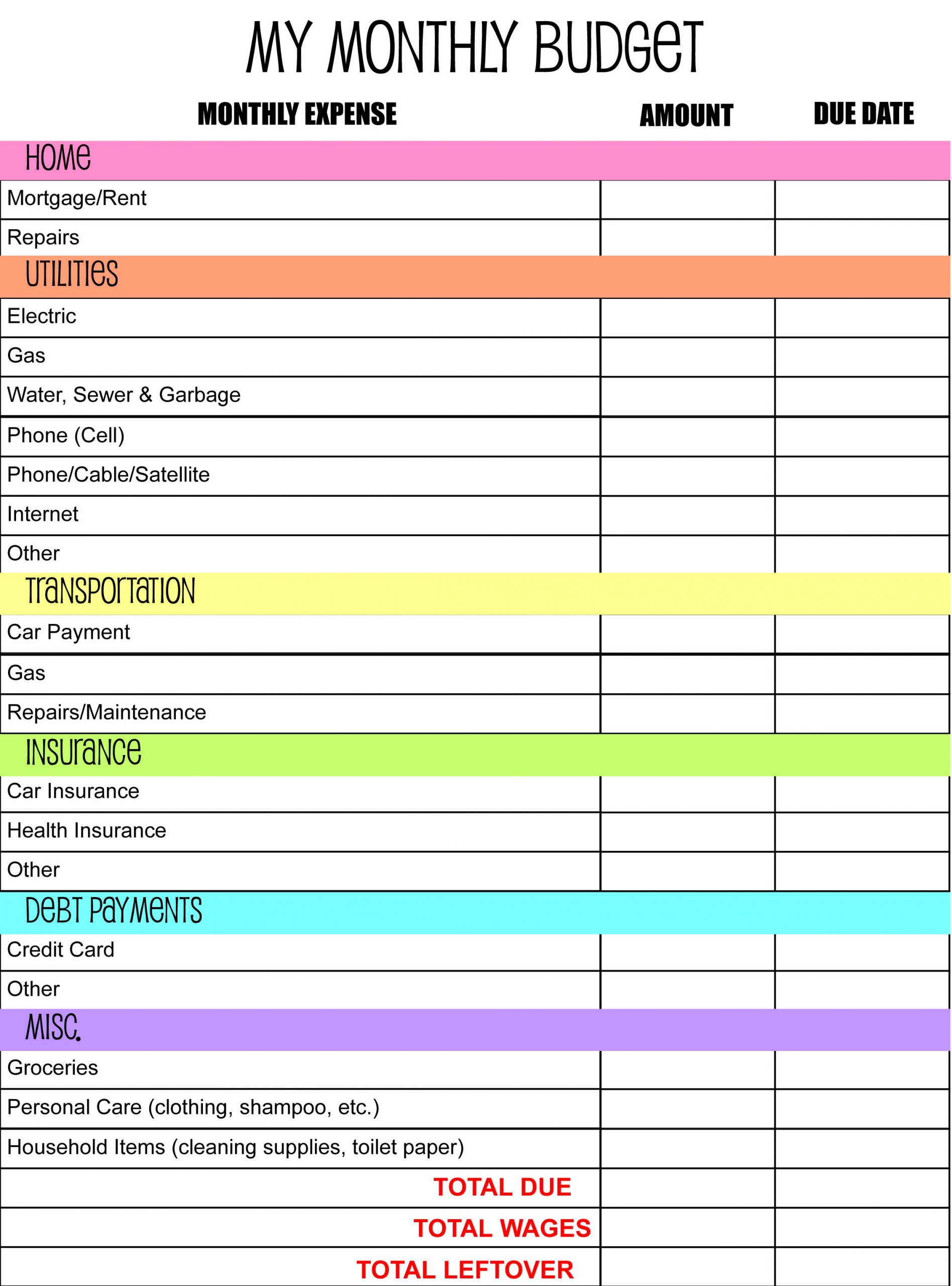 Household Budget Downloadable Budget Sheet Template