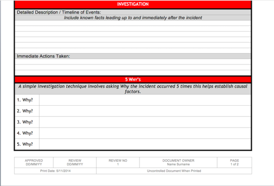 Incident Investigation Timeline Template