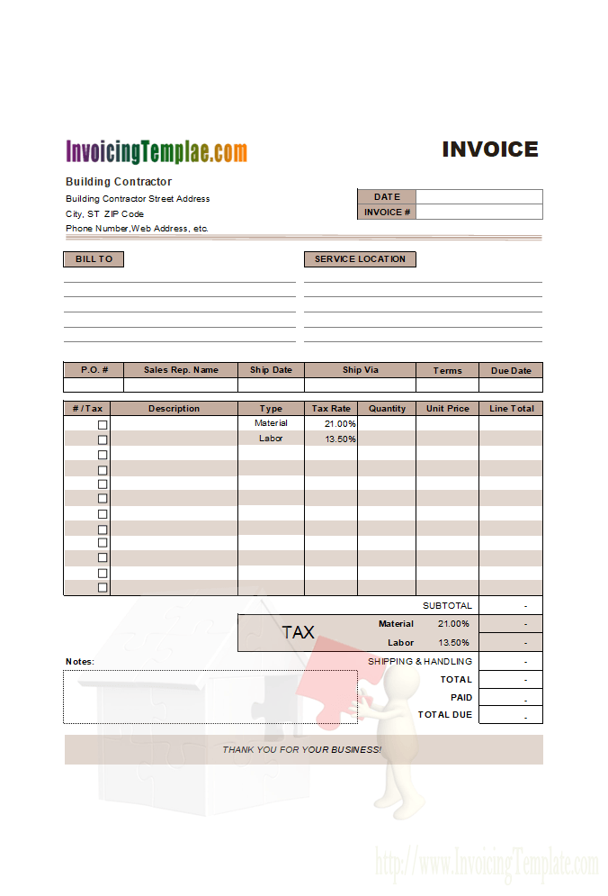 Invoice Template For Contract Work