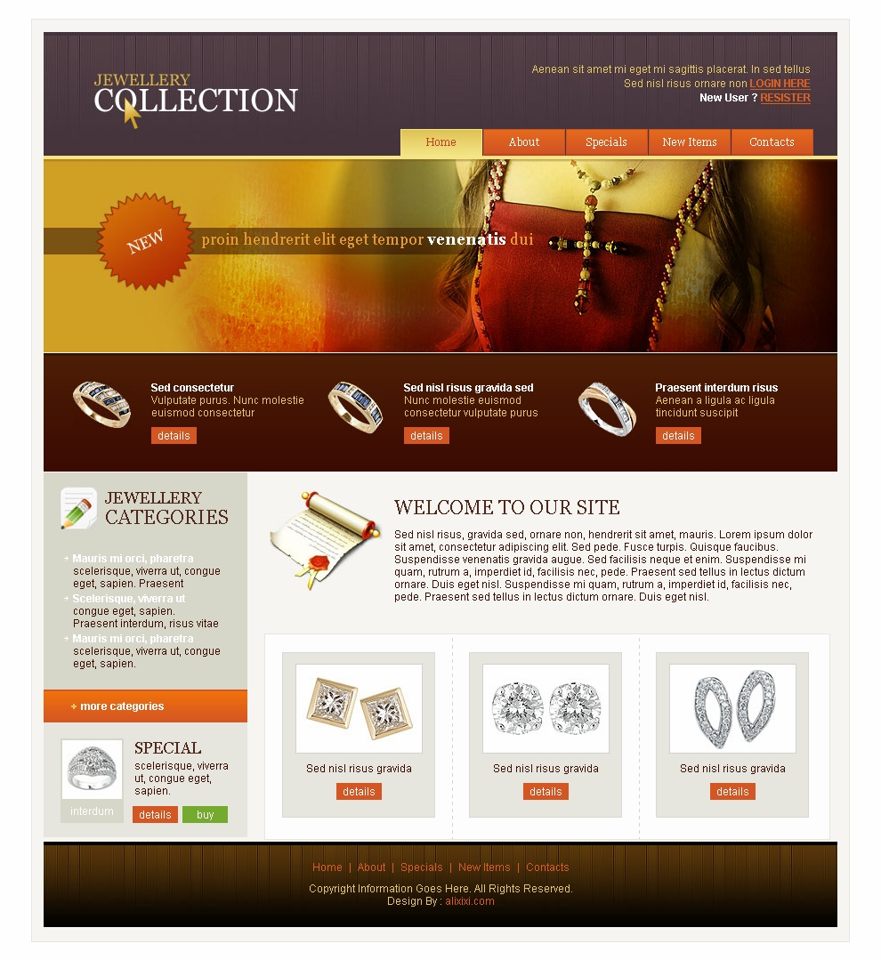 Jewellery Website Templates Responsive Free Download Html With Css