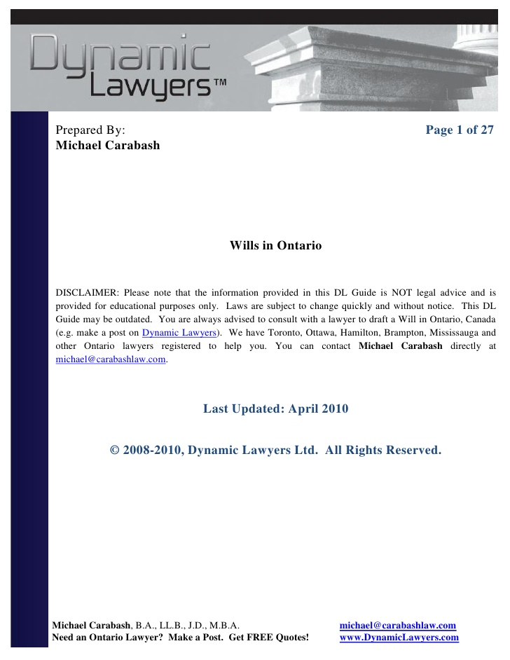 Last Will And Testament Template Ontario Canada