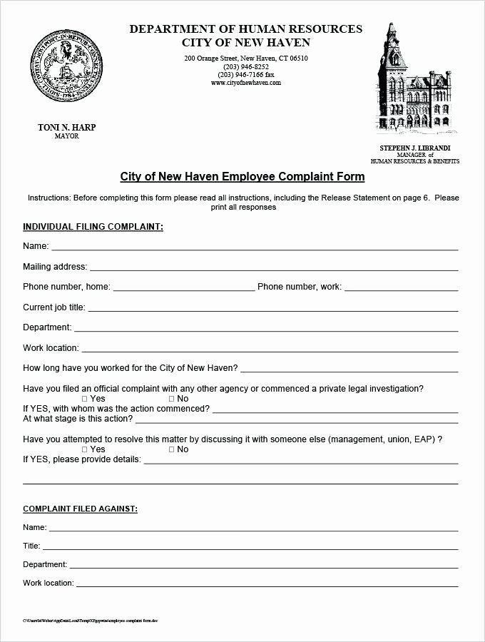 Legal Complaint Form Template Word