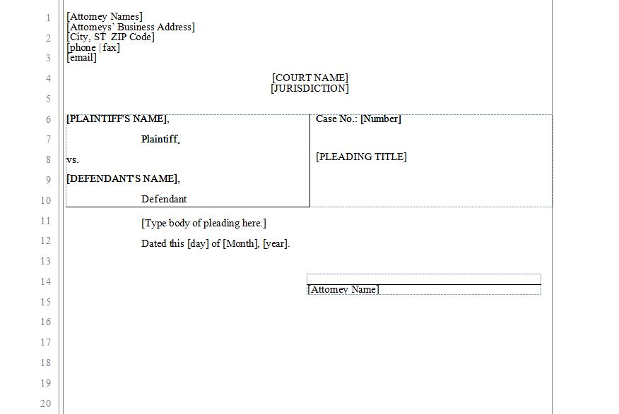 Legal Pleadings Templates Microsoft Word