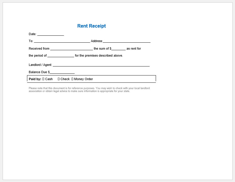 Legal Receipt Of Payment Template