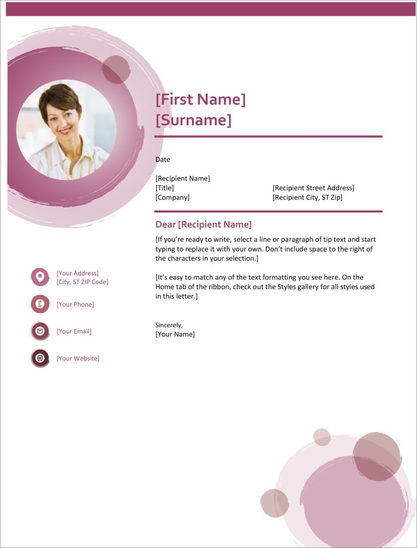 Microsoft Word Free Cover Letter Templates