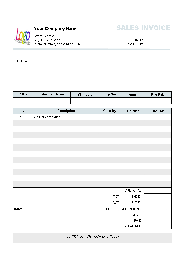 Microsoft Word Invoice Template Uk