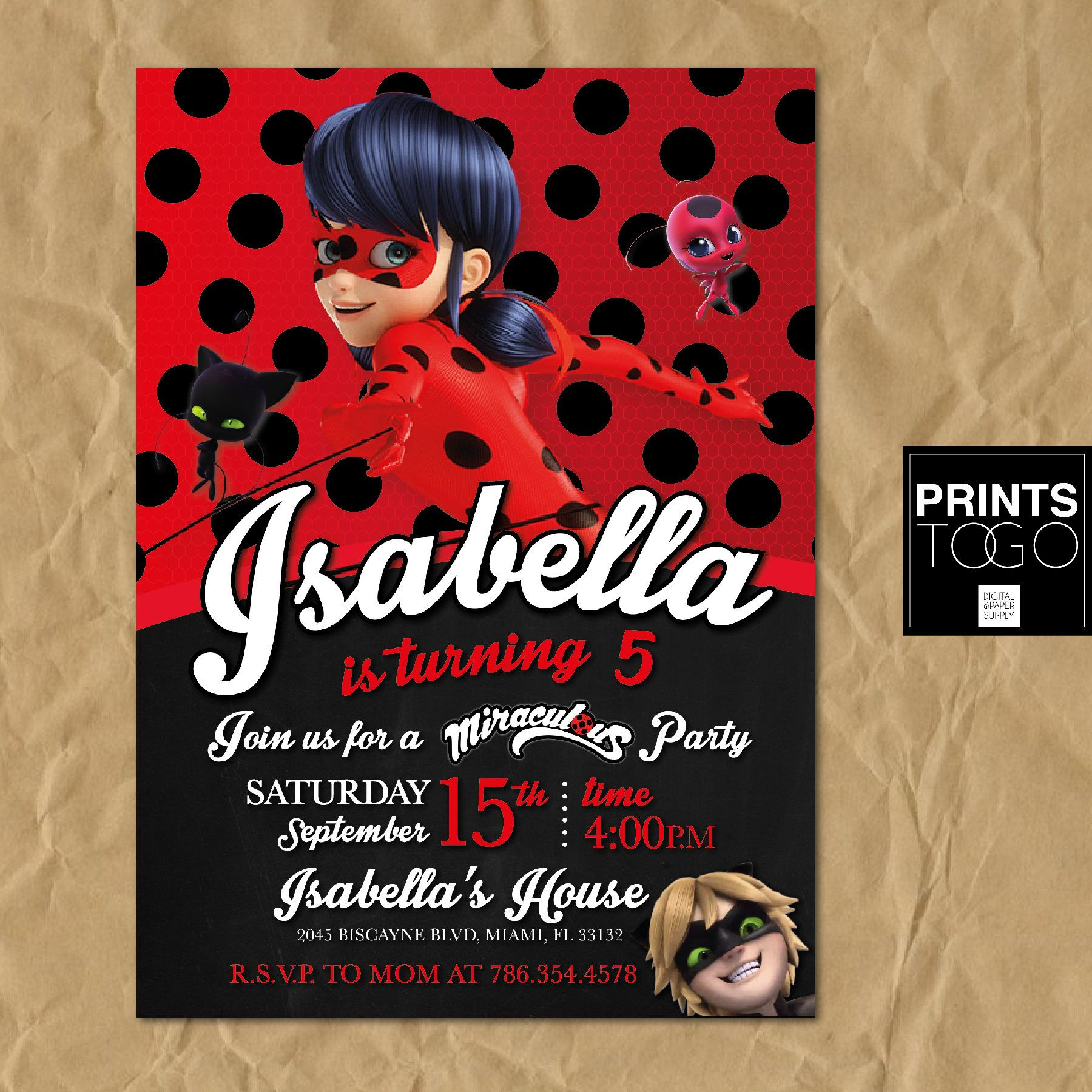 Miraculous Ladybug Birthday Invitations Free Template