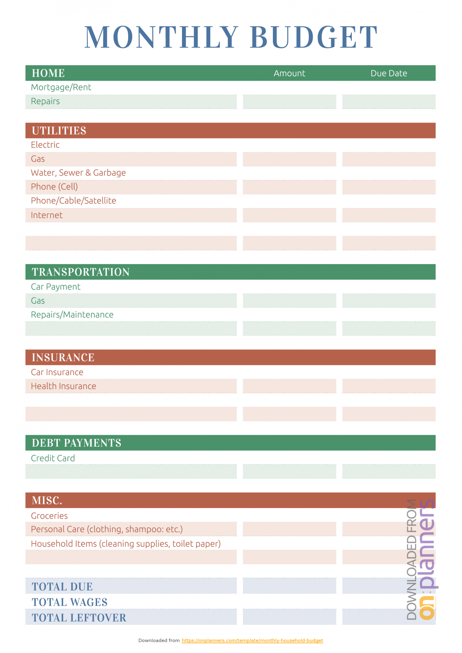 Monthly Budget Sheet Template Excel