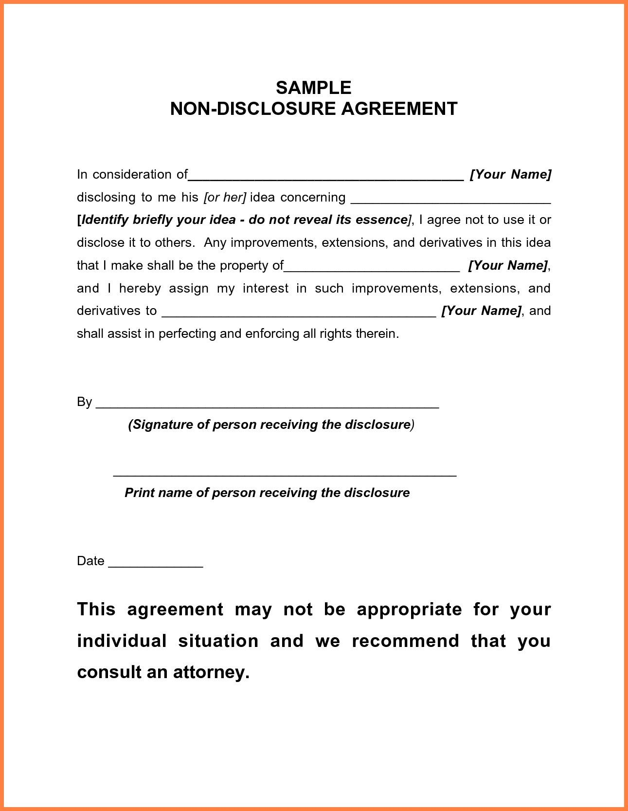 Non Disclosure Agreement Confidentiality Agreement Template
