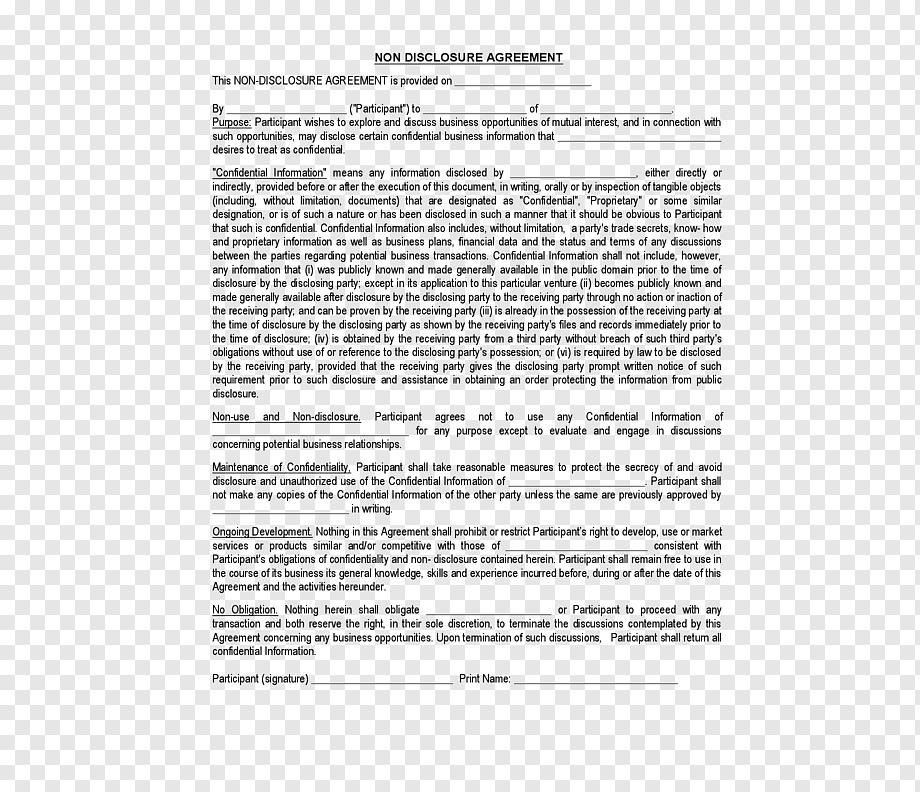 Non Disclosure Document Template
