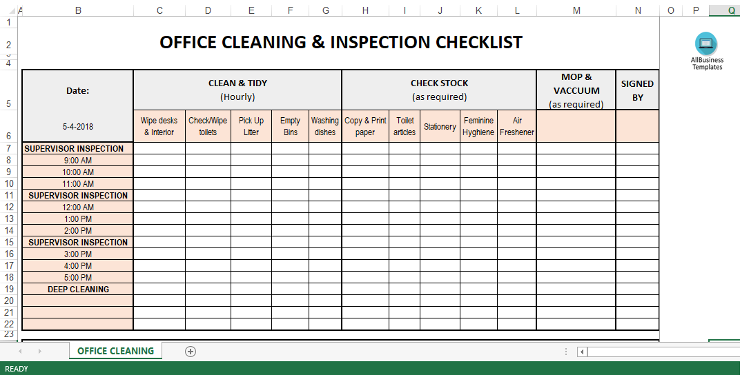 Office Inspection Checklist Template Excel