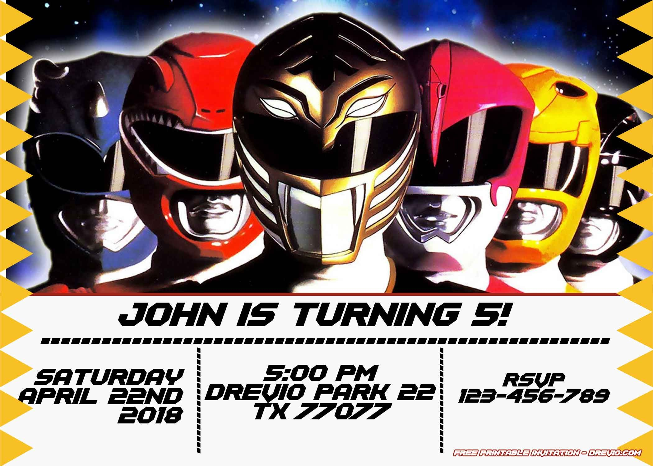 Power Rangers Birthday Invitations Template Free