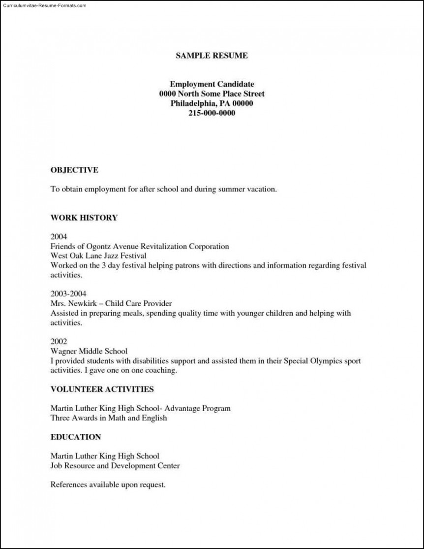 Printable Basic Resume Template Free
