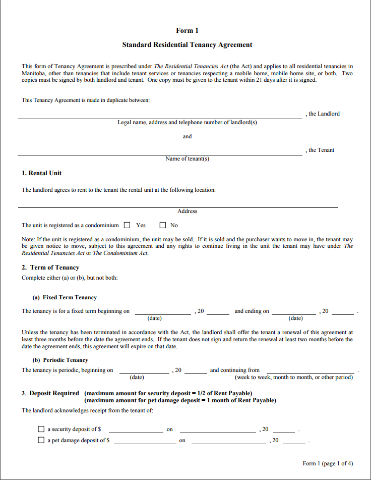 Printable Basic Tenancy Agreement Template Uk