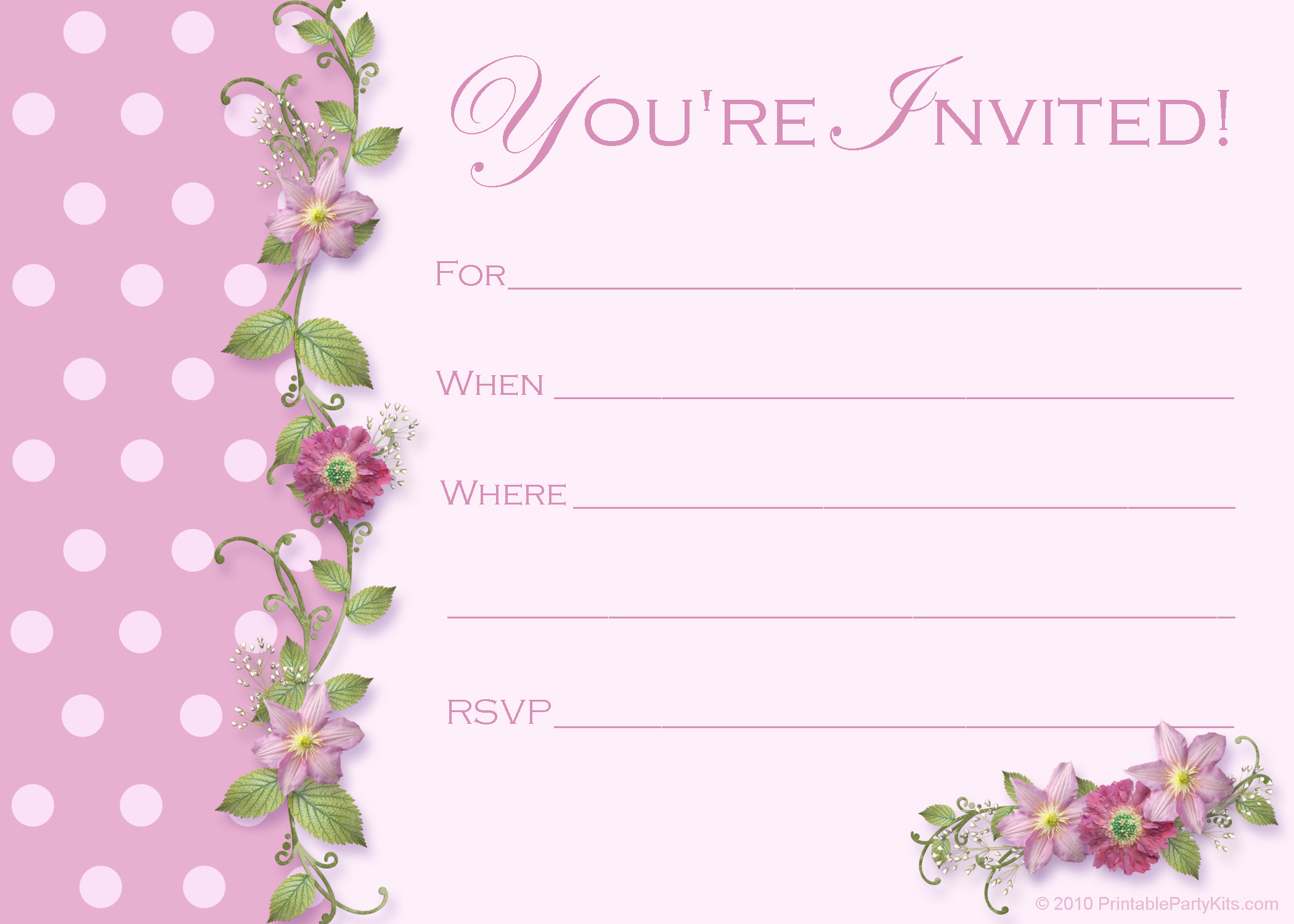 Printable Blank 40th Birthday Invitation Templates