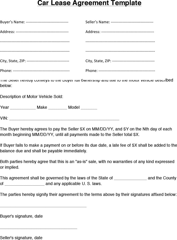 Printable Car Lease Agreement Template