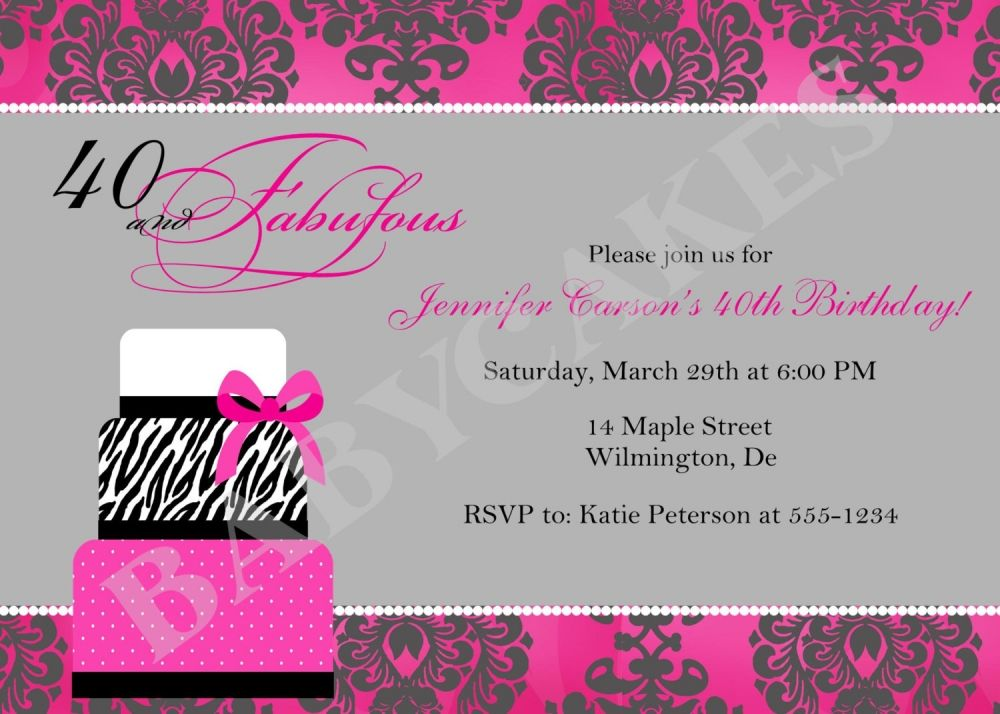 Printable Female 40th Birthday Invitation Templates