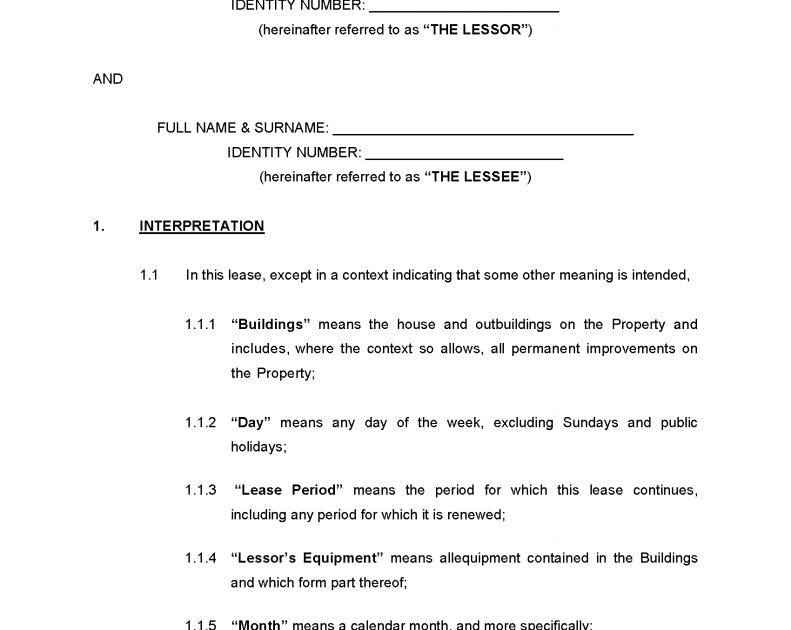 Printable Lease Agreement Template South Africa