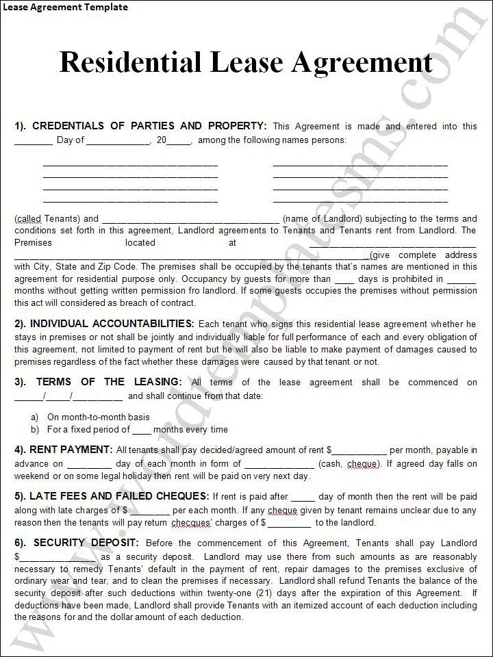 Printable Lease Agreement Templates