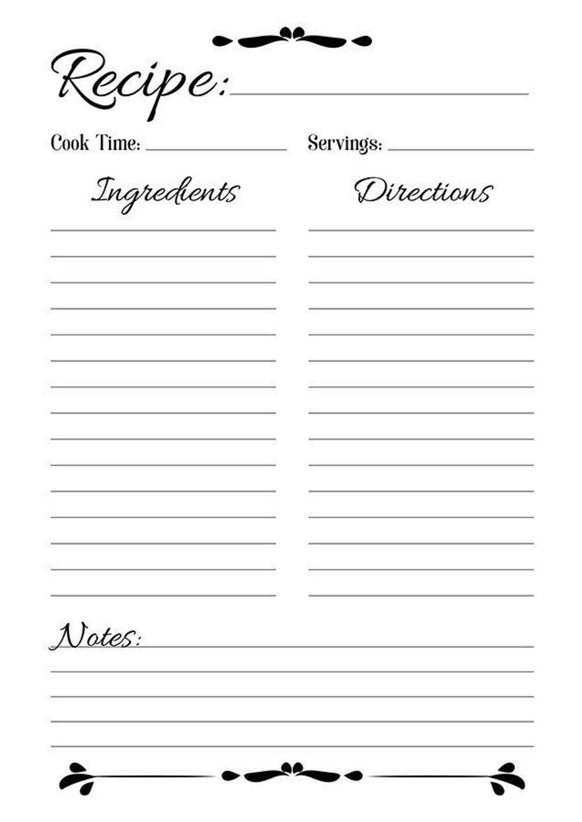 Printable Recipe Blank Template