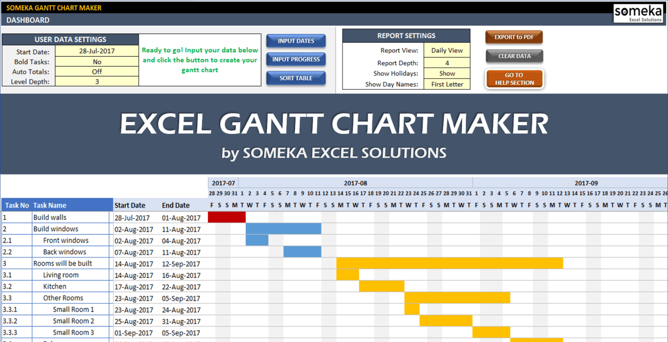 Project Management Gantt Chart Excel Template With Subtasks