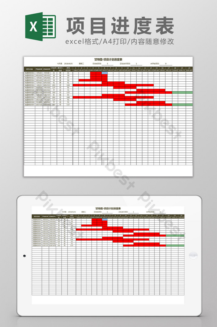 Project Schedule Gantt Chart Excel Template
