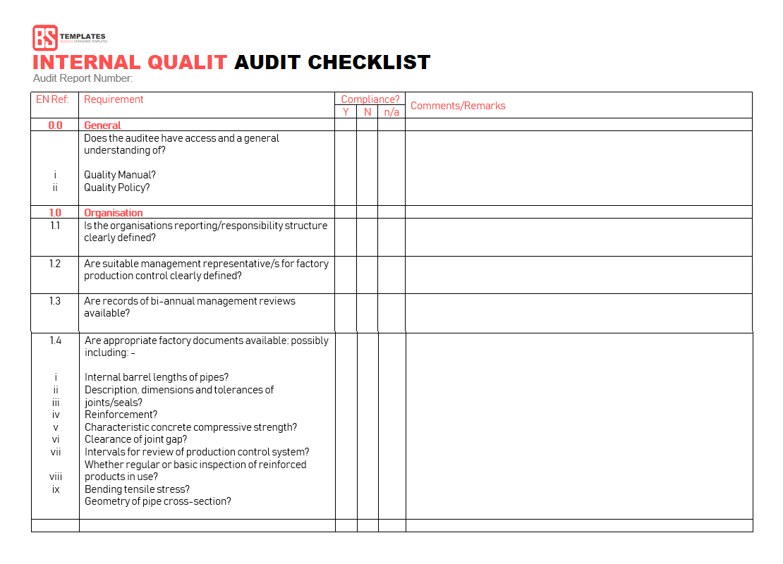 Quality Audit Checklist Template