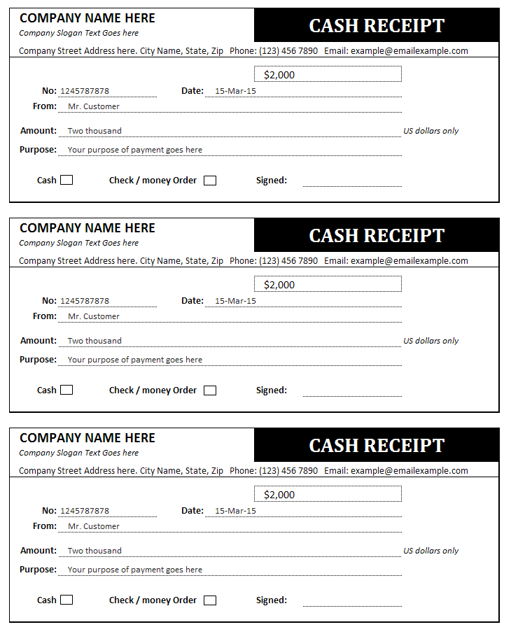 Receipt Invoice Template Free
