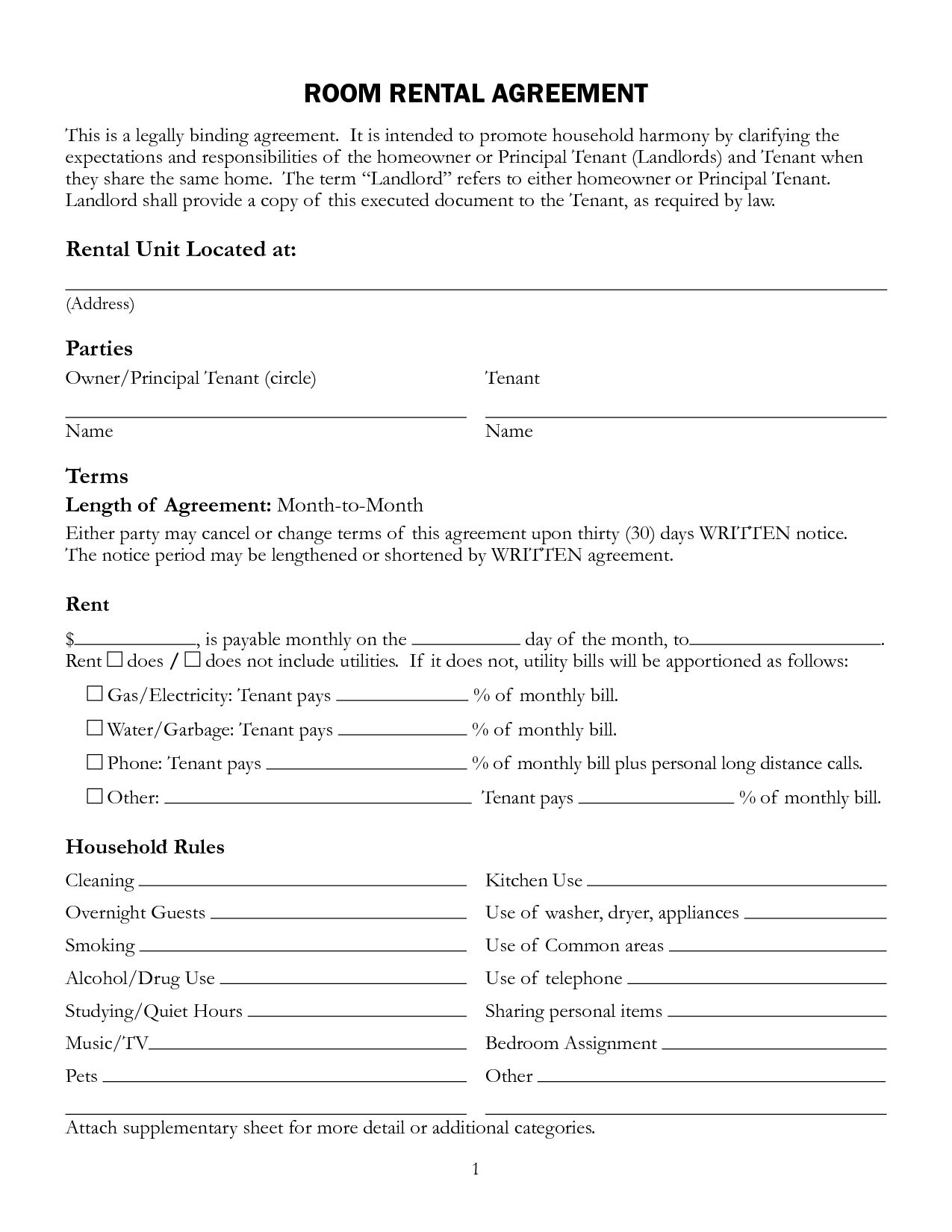 Rental Printable Lease Agreement Template