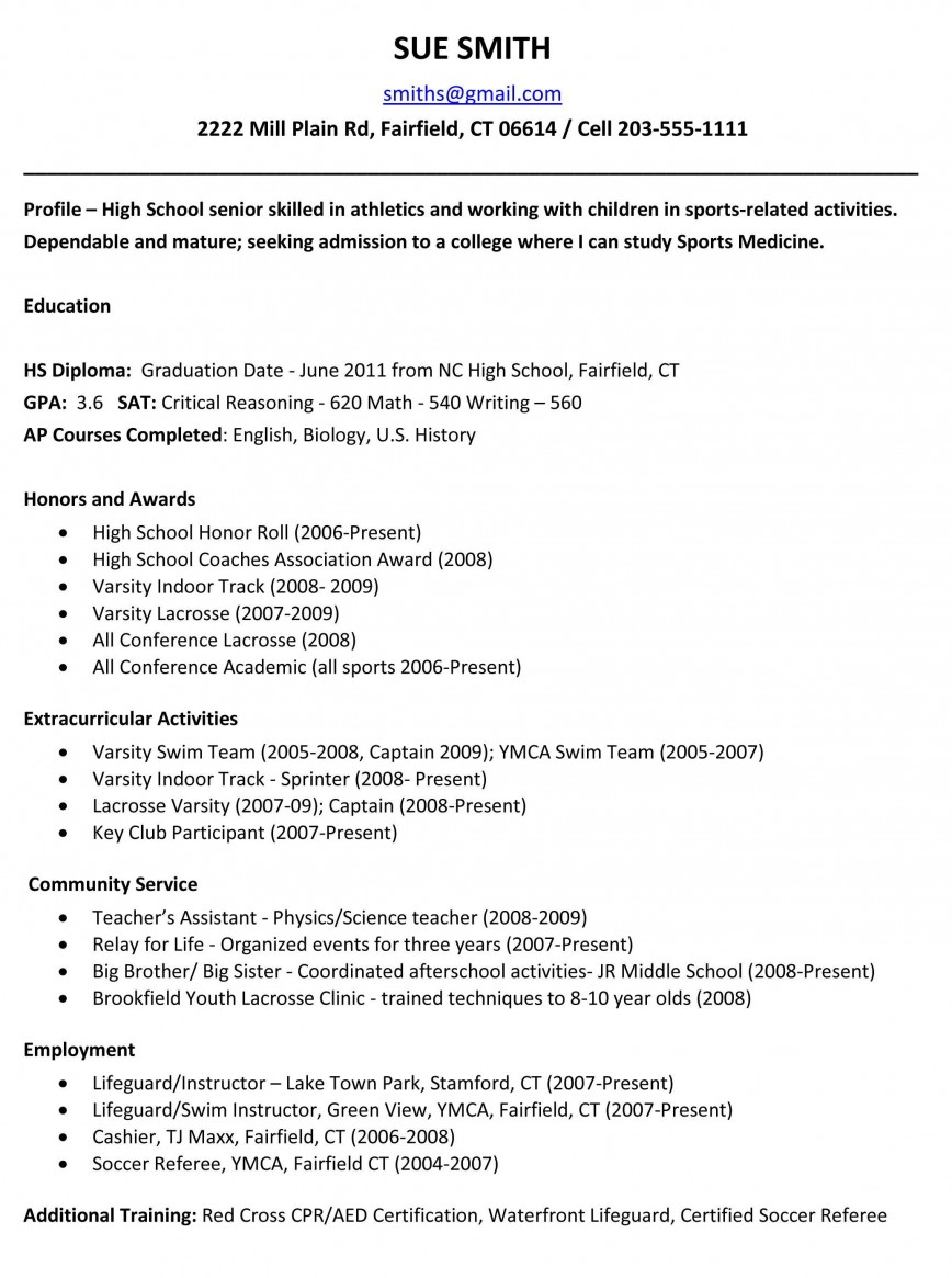 Resume Template Examples For Highschool Students