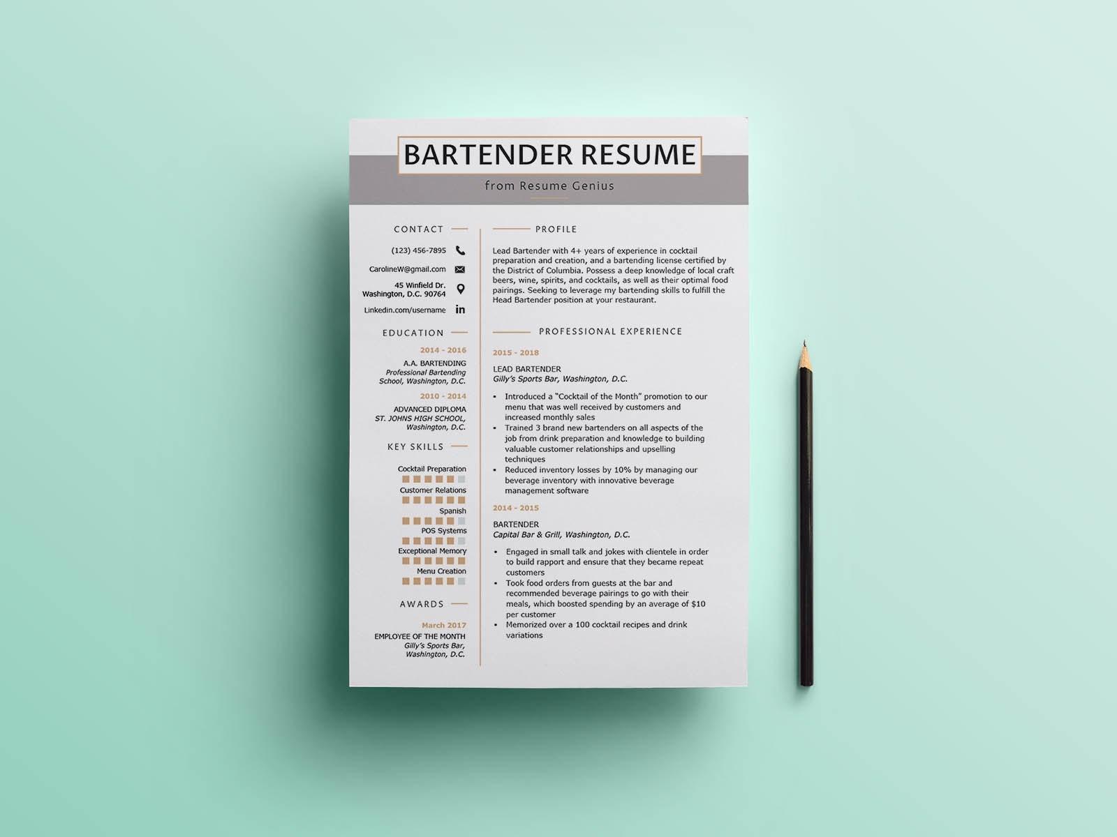 Resume Template For Bartender