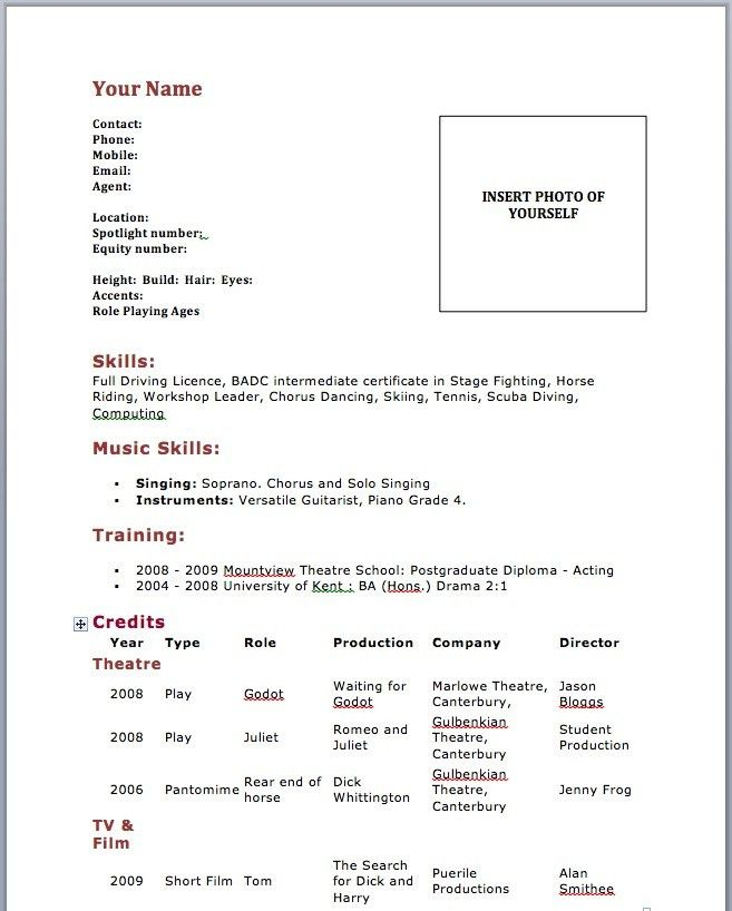 Resume Templates For Actors