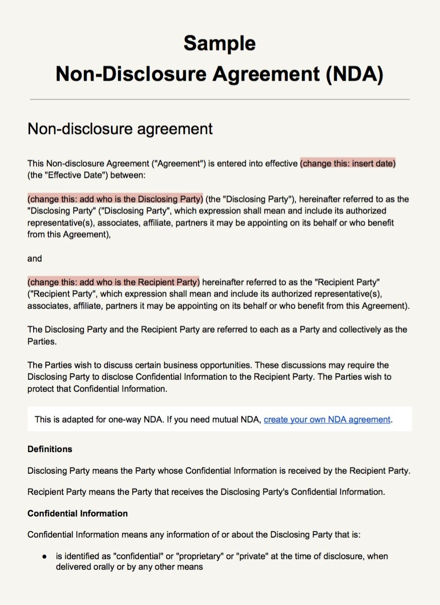 Sample Nda Agreement Template