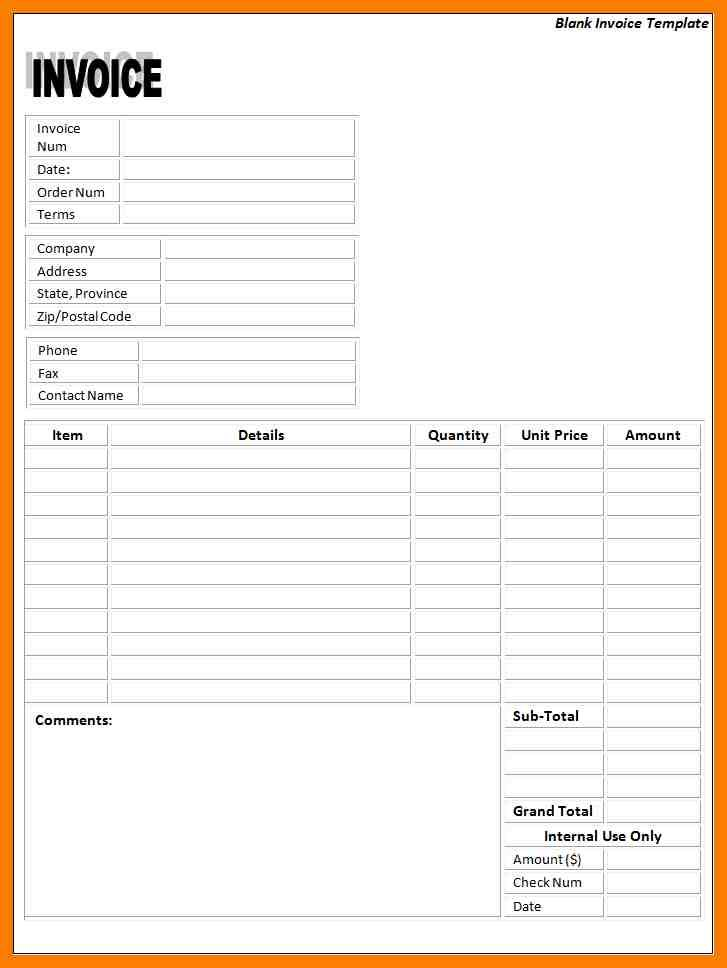 Self Employed Printable Blank Invoice Template