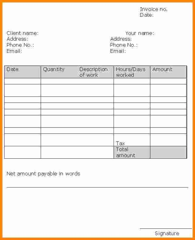 Self Employment Invoice Template