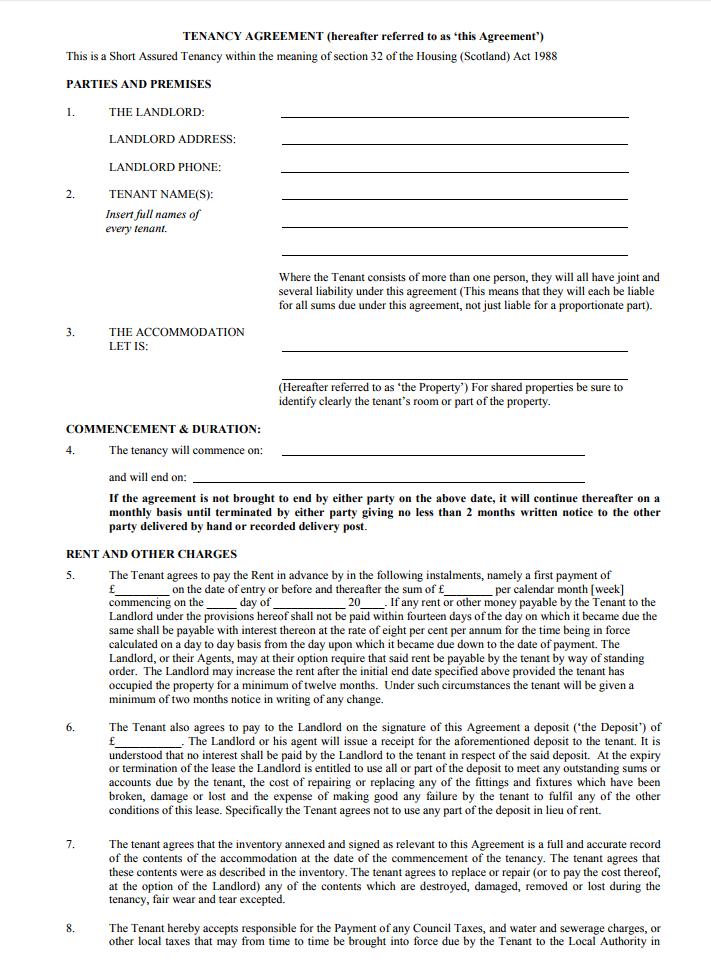 Short Term Tenancy Agreement Template Uk