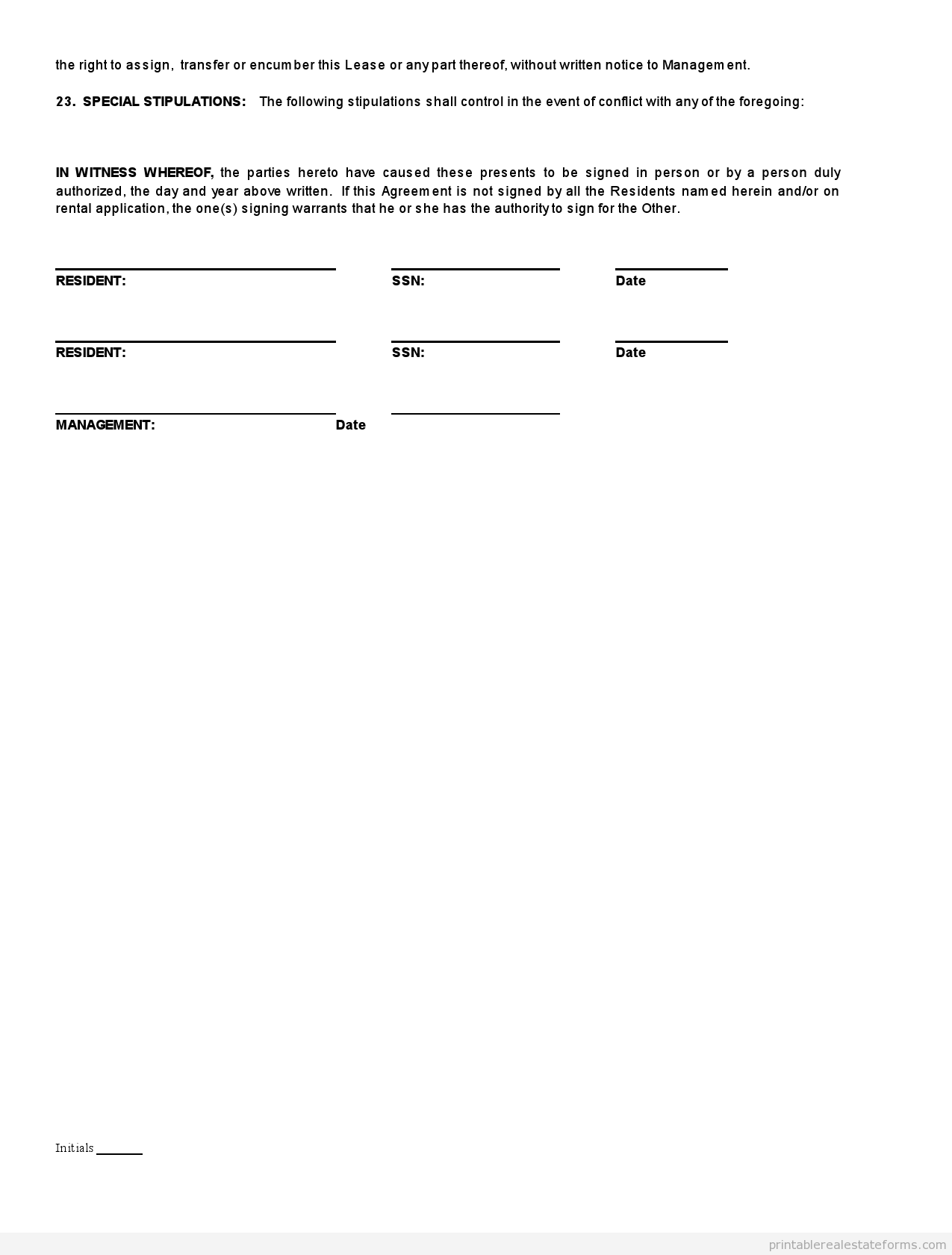Simple Printable Lease Agreement Template Word