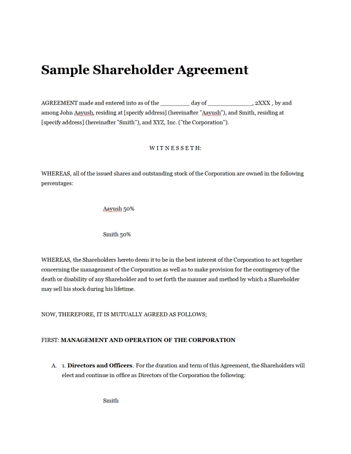 Simple Shareholder Agreement Template